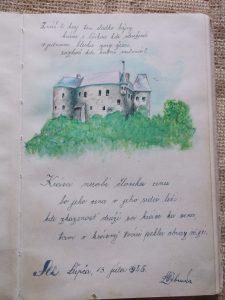Hrad v Slovenskej Ľupči ručne maľovaný s krásne napísaným odkazom.