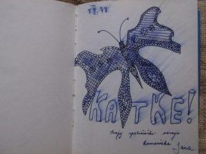 Perokresba motýľa aj s venovaním v pamätničku.